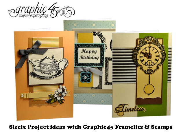 ***SALE*** Sizzix Stamp & Die-cut Framelits Set (6pk) - Tea Time by GRAPHIC 45