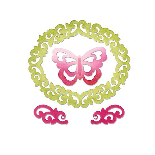 ***SALE*** Sizzix Thinlits Die Set 4PK - Butterfly, Flourishes & Frame by Rachael Bright