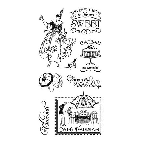 Graphic 45 Cling Mounted Stamp Set - Cafe Parisian #1