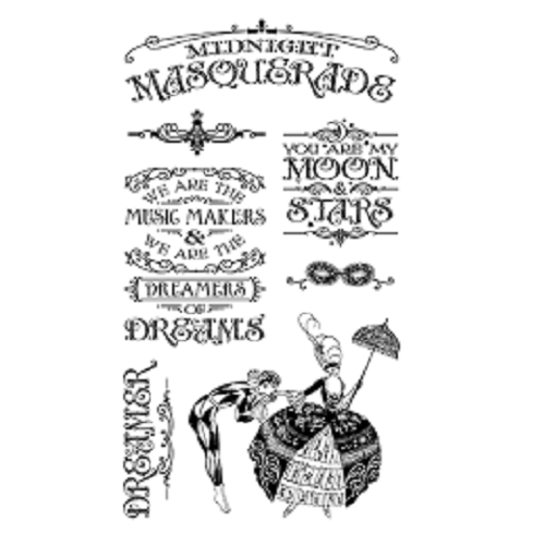 Graphic 45 Cling Mounted Stamp Set - Midnight Masquerade Set #1