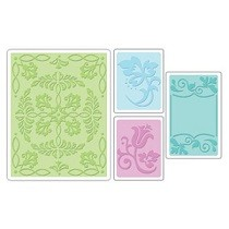 Sizzix® Textured Impressions™ Embossing Folder Set 4PK - Ornate Flowers & Frame by Rachael Bright™