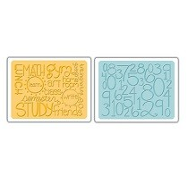 Sizzix® Textured Impressions™ Embossing Folder Set 2PK - Reading, Writing & Arithmetic by Emily Humble™
