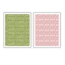 Sizzix® Textured Impressions™ Embossing Folder Set 2PK - Evergreen & Snow Flowers by Basic Grey™