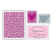 Sizzix® Textured Impressions™ Embossing Folder Set 4PK - Valentine #2 by Scrappy Cat™