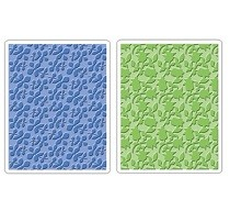 Sizzix® Textured Impressions™ Embossing Folder Set 2PK - Country & Flowering Foliage by Scrappy Cat™
