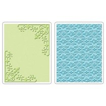 Sizzix® Textured Impressions™ Embossing Folder Set 2PK - Corners & Damask by Rachael Bright™
