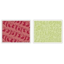 Sizzix® Textured Impressions™ Embossing Folder Set 2PK - Christmas Stockings by Rachael Bright™