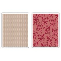 Sizzix® Textured Impressions™ Embossing Folder Set 2PK - Botanicals & Beaded Ribbons by Rachael Bright™