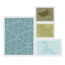 Sizzix® Textured Impressions™ Embossing Folder Set 4PK - Birds & Reindeer by Basic Grey™
