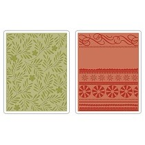 Sizzix® Textured Impressions™ Embossing Folder Set 2PK - Branches, Swirls & Ribbons by Basic Grey™