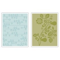Sizzix® Textured Impressions™ Embossing Folder Set 2PK - Pear & Vines by Basic Grey™
