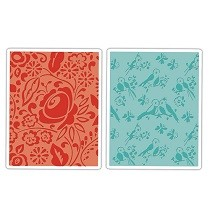 Sizzix® Textured Impressions™ Embossing Folder Set 2PK - Birds & Blooms by Dena Designs™