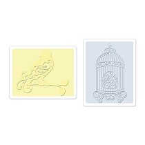 Sizzix® Textured Impressions™ Embossing Folder Set 2PK - Bird & Birdcage by Jen Long™