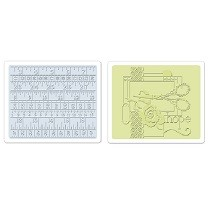 Sizzix® Textured Impressions™ Embossing Folder Set 2PK - Sewing & Measuring Tape by Debi Adams™