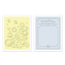 Sizzix® Textured Impressions™ Embossing Folder Set 2PK - Vintage Buttons by Jen Long™