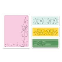 Sizzix® Textured Impressions™ Embossing Folder Set 4PK - Dress Form by Jen Long™