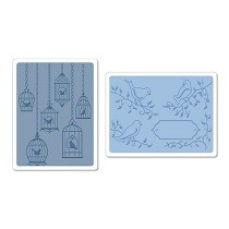 Sizzix® Textured Impressions™ Embossing Folder Set 2PK - Birds & Birdcages #2 by Jen Long™