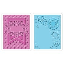 Sizzix® Textured Impressions™ Embossing Folder Set 2PK - Banner & Flowers by Paula Pascual™