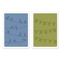 Sizzix® Textured Impressions™ Embossing Folder Set 2PK - Birds & Banners by Karen Burniston™
