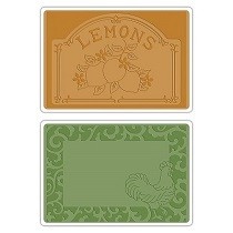 Sizzix® Textured Impressions™ Embossing Folder Set 2PK - Rooster Frame & Lemon Label by Jen Long™