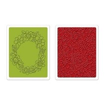 Sizzix® Textured Impressions™ Embossing Folder Set 2PK - Wreath & Flowers by Stephanie Ackerman™