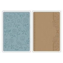 Sizzix® Textured Impressions™ Embossing Folder Set 2PK - Flowers & Frame by Jen Long™