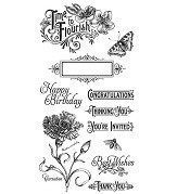 Graphic 45 Cling Mounted Stamp Set - Time to Flourish Set 1