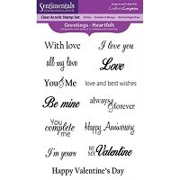 Crafter's Companion Clear Stamp Set - Sentimentals, Heartfelt Greetings (13 pcs)