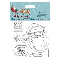 "Papermania® Jolly Santa Collection - 4 x 4"" Clear Stamps, Santa"