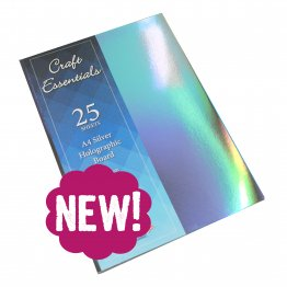 Craft UK© Ltd - A4 Silver Holographic Card, 25 pk