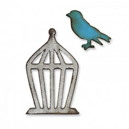 Sizzix® Movers & Shapers™ Magnetic Die Set 2PK - Mini Bird & Cage Set  By Tim Holtz®