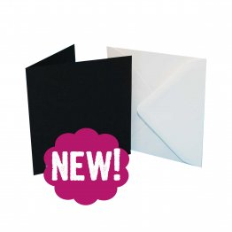 Craft UK© Ltd - 7 x 7 Black Cards &  White Envelopes, 25 pk