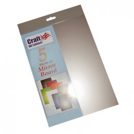 Craft UK© Ltd - A4 Silver Mirror Board, 5 pk