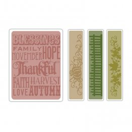 Sizzix® Texture Fades™ Embossing Folders 4PK - Thankful Background and Borders Set By Tim Holtz®