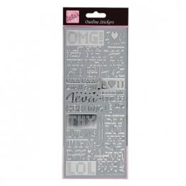 Anita's Outline Sticker Sheet - Text Speak, Silver