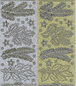 Holographic 2 sheets - Gold & Silver Holly & Pine Branches w/Stars