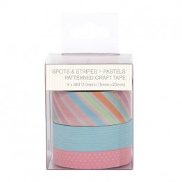 PaperMania Capsule Collection Spots & Stripes Pastels - Patterned Craft Tape (3pcs)