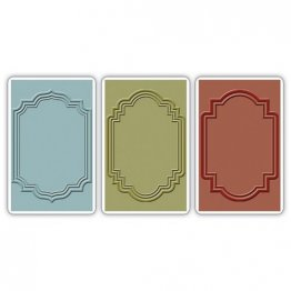 Sizzix® Texture Trades™ Embossing Folders 3PK -  Outline Labels Set By Tim Holtz®