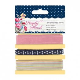 Papermania® Simply Floral - Stitched Trims Pack 3 x 2m (3 pcs)