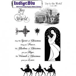 IndigoBlu™ A5 Rubber Stamp - Joy to the World