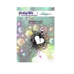 IndigoBlu™ A6 Rubber Stamp - Splattered Heart