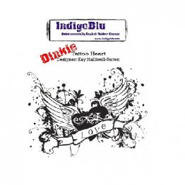 IndigoBlu™ A7 Rubber Stamp - Tattoo Heart DINKIE