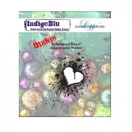 IndigoBlu™ A7 Rubber Stamp - Splattered Heart DINKIE