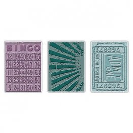 Sizzix® Texture Fades™ Embossing Folders 3PK - Playing Games Set By Tim Holtz®
