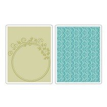Sizzix® Textured Impressions™ Embossing Folder Set 2PK - Circle Frame & Rosemary by Basic Grey™