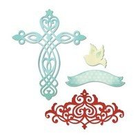 Sizzix Thinlits Die Set 4PK - Cross, Dove, Banner & Border by Rachael Bright
