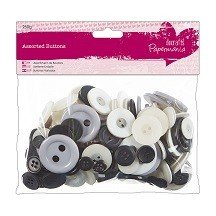 Papermania® Essentials - Assorted Buttons (250g), Monochrome