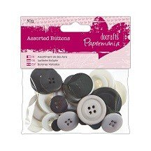 Papermania® Essentials - Assorted Buttons (50g), Monochrome