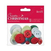 Papermania® Essentials - Assorted Buttons (50g), Traditional Christmas