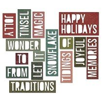 Sizzix Thinlits Die Set 16PK - Holiday Words 2: Block by Tim Holtz